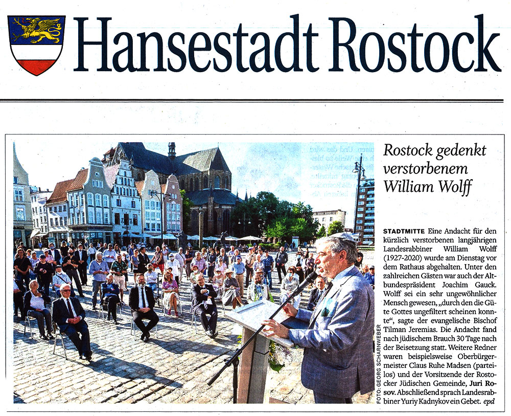 NNN,12.08.2020, S.7, Rostock gedenkt verstorbenem William Wolff